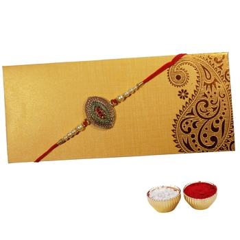 Designer Rakhi Adorned with Stones For Brother Single Rakhi For Bhaiya with Roli Tika