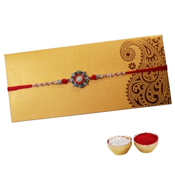 White Pearl Rakhi For Brother with Floral Cutwork Single Rakhi with Roli Tika