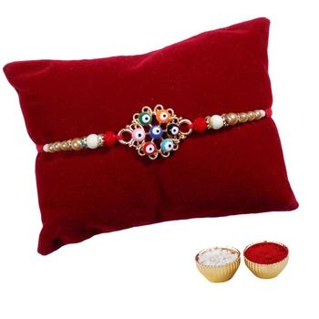 Designer Rakhi For Brother with Multicolor Beadwork Single Rakhi with Roli Tika
