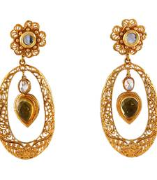 Yellow gold plated antique gold Copper   Pair of Earrings