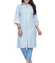Sky-blue woven cotton kurta sets