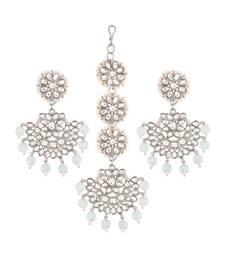 18K Rhodium Plated Kundan & Faux Pearl Chandbali Earrings with Maang Tikka Set