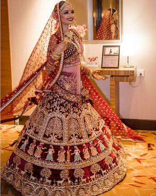 9000 Velvet Maroon Color Wedding Bridal Lehenga Choli