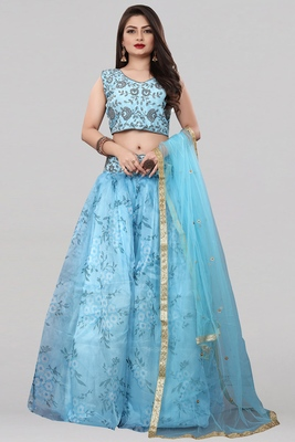 Sky Blue Colored Partywear Designer Embroidered Net with silk Lehenga Choli