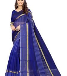 Blue Art Silk  plain   saree with blouse