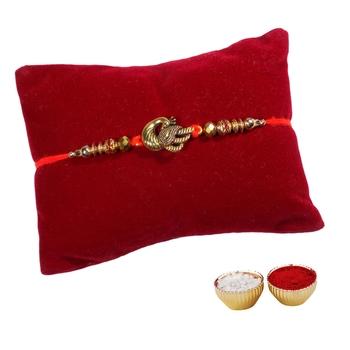 Golden Mayur Rakhi For Brother Single Rakhi with Roli Tika