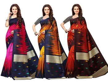 multicolor art_silk printed combo  saree with combo blouse