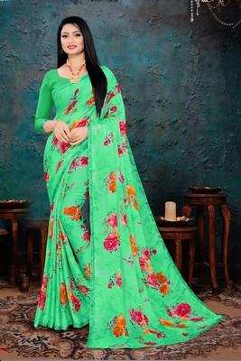 Green Bright Chiffon Flower Printed Designer Saree