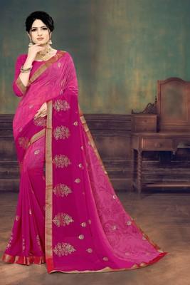 Pink Georgette Half Half printed Designer Saree