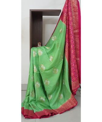 light green pure brocade silk Woven   saree with blouse