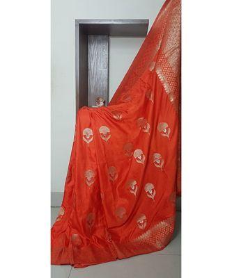 orange faux raw dupion silk Woven   saree with blouse