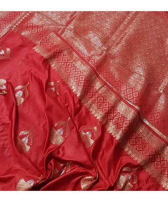 red faux raw dupion silk Woven   saree with blouse