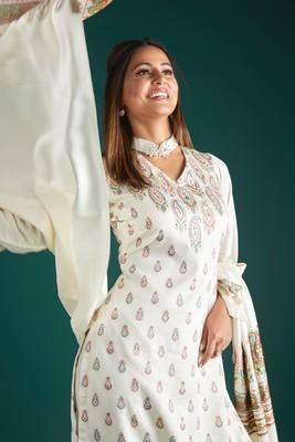 Off White Viscose Acrylic Women Woven Dress Material