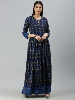 Navy-blue printed rayon party-wear-kurtis