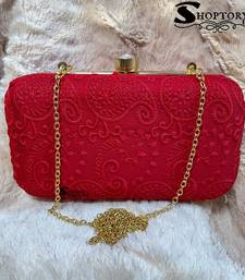 Shoptory India Chicken Kari Embroidery Box Clutch For Women