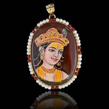 Lord Krishna Tanjore  Pendant
