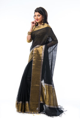 Black hand_woven silk saree with blouse