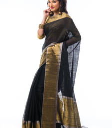 Buy Black hand_woven silk saree with blouse tussar-silk-saree online