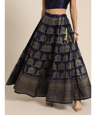 Navy Kali Foil Print Anarkali Skirt