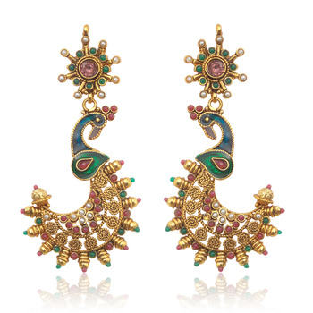 Golden Peacock Meenakari Earrings by ADIVA ABSWE0EE0025