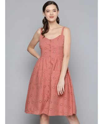 Baked Pink Strappy Front Button Dress