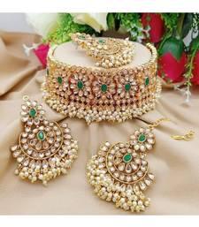 Green kundan White Gold Alloy necklace sets