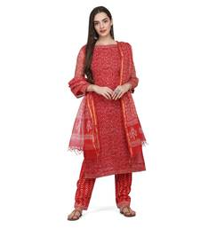 Red Color Cotta Silk Floral Print Unstitched Top with Bottom with Dupatta