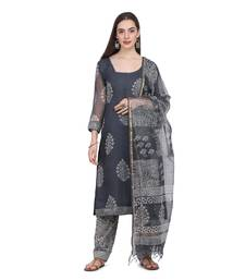 Grey Color Cotta Silk Floral Print Unstitched Top with Bottom with Dupatta