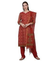 Rust Color Cotta Silk Floral Print Unstitched Top with Bottom with Dupatta