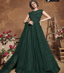 Green Net Embroidered Women Semi Stitched Heavy Long Gown