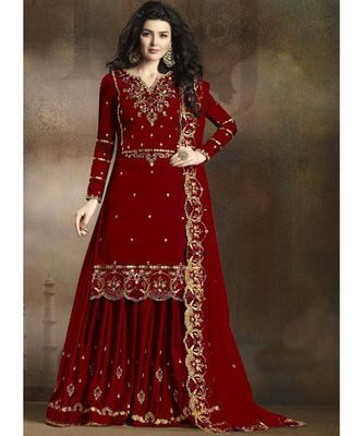 maroon silk blend unstitched embroidered top and bottom with dupatta