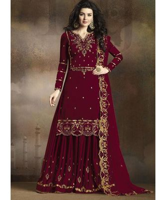 dark-maroon silk blend unstitched embroidered top and bottom with dupatta