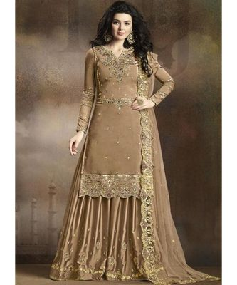 beige silk blend unstitched embroidered top and bottom with dupatta