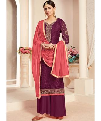wine brasso unstitched embroidered top and bottom with dupatta