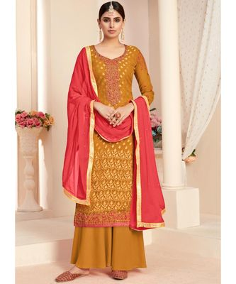 mustard brasso unstitched embroidered top and bottom with dupatta