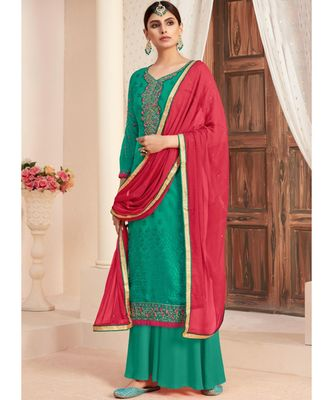 dark-turquoise brasso unstitched embroidered top and bottom with dupatta