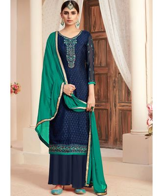 navy-blue brasso unstitched embroidered top and bottom with dupatta
