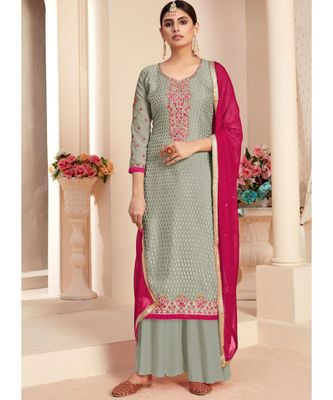 grey brasso unstitched embroidered top and bottom with dupatta