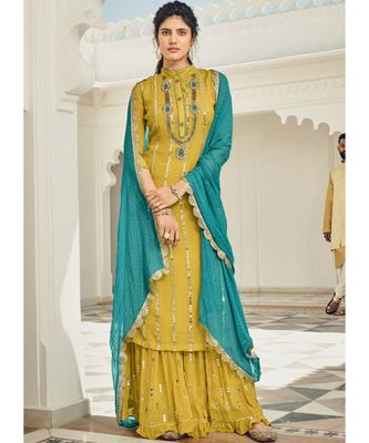 yellow georgette unstitched embroidered top and bottom with dupatta