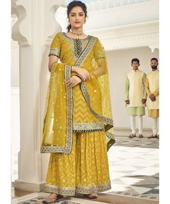 mustard georgette unstitched embroidered top and bottom with dupatta