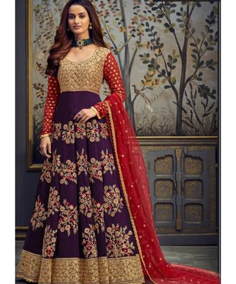 purple georgette unstitched embroidered top and bottom with dupatta