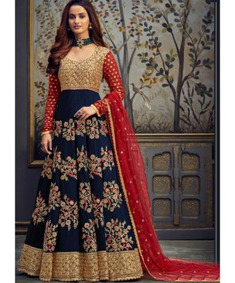 navy-blue georgette unstitched embroidered top and bottom with dupatta