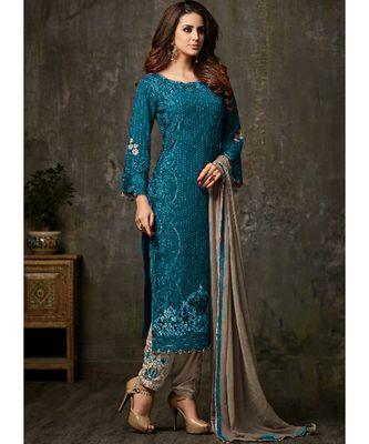 teal georgette unstitched embroidered top and bottom with dupatta