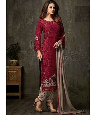 maroon georgette unstitched embroidered top and bottom with dupatta
