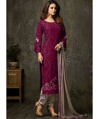 dark-wine georgette unstitched embroidered top and bottom with dupatta