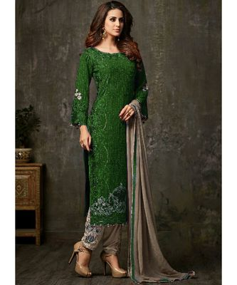 green georgette unstitched embroidered top and bottom with dupatta