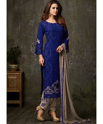 royal-blue georgette unstitched embroidered top and bottom with dupatta