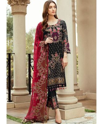 black georgette unstitched embroidered top and bottom with dupatta