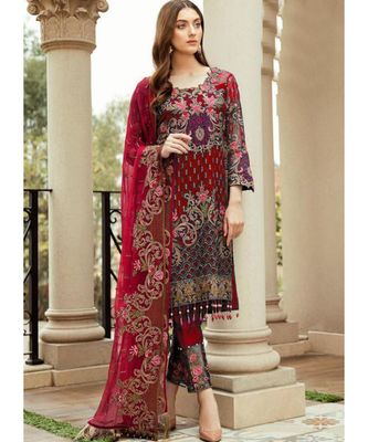 red georgette unstitched embroidered top and bottom with dupatta