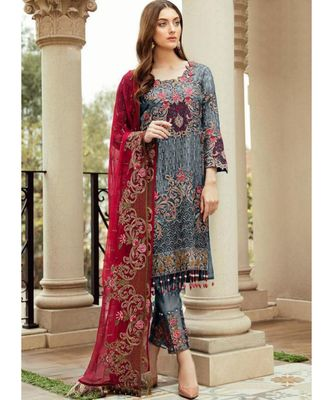 grey georgette unstitched embroidered top and bottom with dupatta